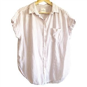 American Eagle Oversized striped button up top